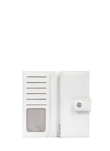 Cengiz Pakel 65222A Teknolojik Deri Orta Boy Renk Portföy Kadın Cüzdan Beyaz